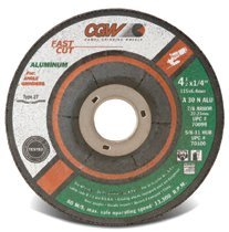 "CGW Abrasives 70100 Fast Cut Depressed Center Wheels - 1/4"" Grinding, Type 27"