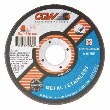 CGW Abrasives 35516 Quickie Cut Extra Thin Cut-Off Wheels, Type 1