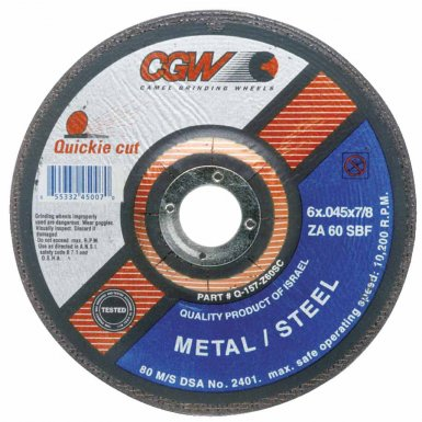 CGW Abrasives 45007 Quickie Cut Extra Thin Cut-Off Wheels, Type 27