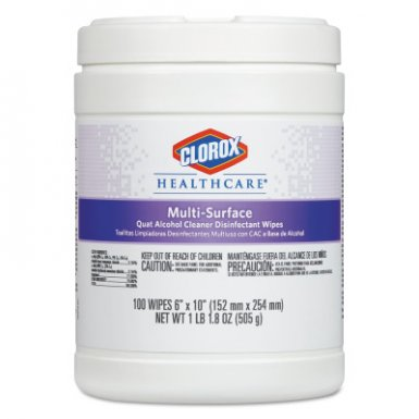 Clorox CLO31335 Healthcare Multi-Surface Quat Alcohol Cleaner Disinfectant Wipes