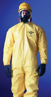 DuPont QC122SYLMD001200 Tychem QC Coveralls with attached Hood and Socks