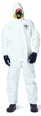 DuPont SL122BWH6X001200 Tychem SL Coveralls with attached Hood and Socks