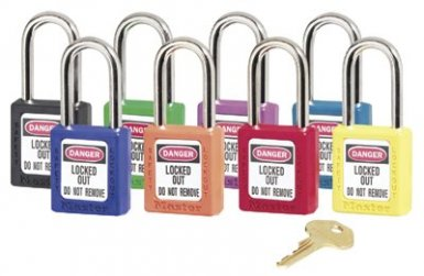 MASTER LOCK 410BLK No. 410 & 411 Lightweight Xenoy Safety Lockout Padlocks