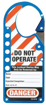 MASTER LOCK 427BLU Safety Series Labeled Snap-On Hasps