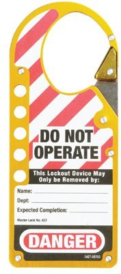 MASTER LOCK 427YLW Safety Series Labeled Snap-On Hasps