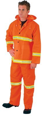 MCR Safety 2013RX3 River City Luminator 3-Piece Rain Suits, Lime Stripe