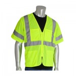 Protective Industrial Products, Inc. 303-MVGZ4P-LY/L ANSI Type R Class 3 Value Four Pocket Zipper Mesh Vests