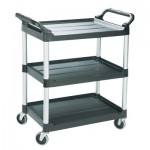 Rubbermaid Commercial 3424-BLA Three-Shelf Service Cart