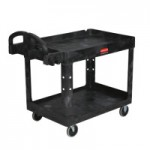 Rubbermaid Commercial FG452089BLA Two Lipped Shelves Utility Cart