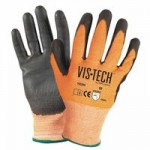 Wells Lamont Y9294L Vis-Tech Cut-Resistant Gloves with Polyurethane Coated Palm